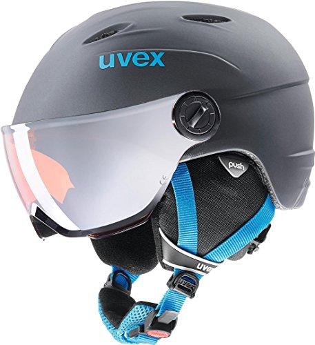UVEX Junior Visor Pro Skihelm, Titanium-Blue Mat, 52-54