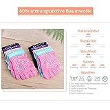GHB 5Pcs Yoga Socken mit Gummisohlen Baumwolle Sportsocken Atmungsaktivität ideal für Yoga Pilates Tanz Fitness von Größe 36 bis 40 - 2