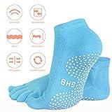 GHB 5Pcs Yoga Socken mit Gummisohlen Baumwolle Sportsocken Atmungsaktivität ideal für Yoga Pilates Tanz Fitness von Größe 36 bis 40 - 4