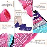 GHB 5Pcs Yoga Socken mit Gummisohlen Baumwolle Sportsocken Atmungsaktivität ideal für Yoga Pilates Tanz Fitness von Größe 36 bis 40 - 5