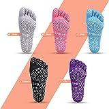 GHB 5Pcs Yoga Socken mit Gummisohlen Baumwolle Sportsocken Atmungsaktivität ideal für Yoga Pilates Tanz Fitness von Größe 36 bis 40 - 9