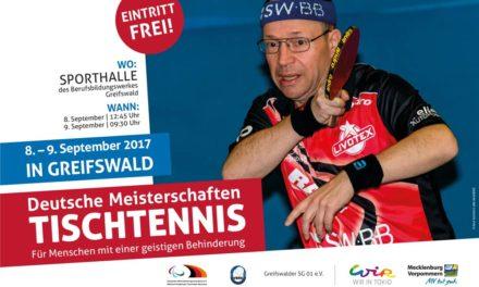 Deutsche Meisterschaften im Tischtennis vom 8.-9. September 2017 in Greifswald