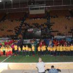 Fußball in der Schweriner Sport- und Kongresshalle - Aufstellung der Mannschaften beim Lübzer Pils Cup 2018 | Foto: P. Bohne