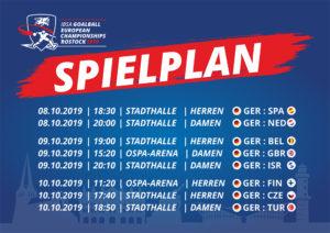 Spielplan der IBSA Goalball European Championship Rostock 2019