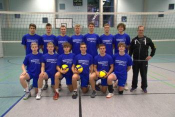 Volleybal - Schweriner Regionalligisten samt Trainer Michael Schöps. Foto: SSC
