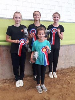 Siegerin und Platzierte der Voltigier-Trophy 2019 v.l.n.r.: Enola Gerullis, Leni Hübner, Luisa Hinz und Amari Santamaria Diaz. Foto: ZRFV Wusterhusen
