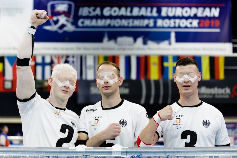 Felix Rogge, Oliver Hoerauf und Thomas Steiger | IBSA Goalball EM in Rostock | Foto: Binh Truong / DBS