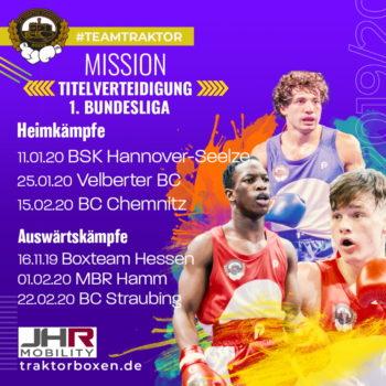 Bundesliga-Auftakt im November auswärts beim Boxteam Hessen / Erster Heimkampf gegen Hannover-Seelze im Januar in Schwerins Palmberg-Arena