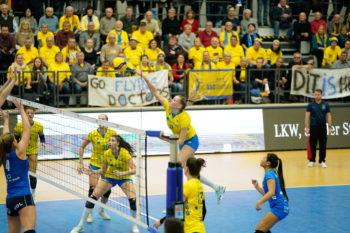 Mit den beiden klaren 3:0-Siegen gegen den niederländischen Meister Sliedrecht steht der Volleyball-Rekordmeister SSC Palmberg Schwerin im Achtelfinale des CEV-Cups. Foto: Michael Dittmar