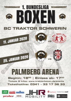 Der BC Traktor hat eine schwere Aufgabe bei Heimkampf gegen Hannover. Boxen Bundesliga | Plakat: BCT Schwerin