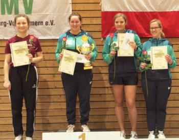 Tischtennis Landeseinzelmeisterschaften in Stralsund |Siegerehrung Dameneinzel. Foto: Siegfried Wellmann