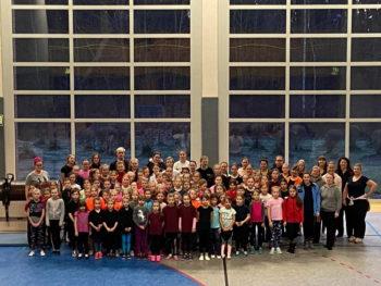 Teilnehmer des Voltigier- WBO Lehrganges in der Sporthalle Güstrow zum Training von Kraft, Ausdauer, Koordination, Tanz und Ausdruck © Fachbeirat Voltigieren