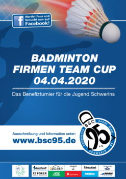 Ausschreibung Badminton Firmen Team Cup 2020 des BSC 95 Schwerin