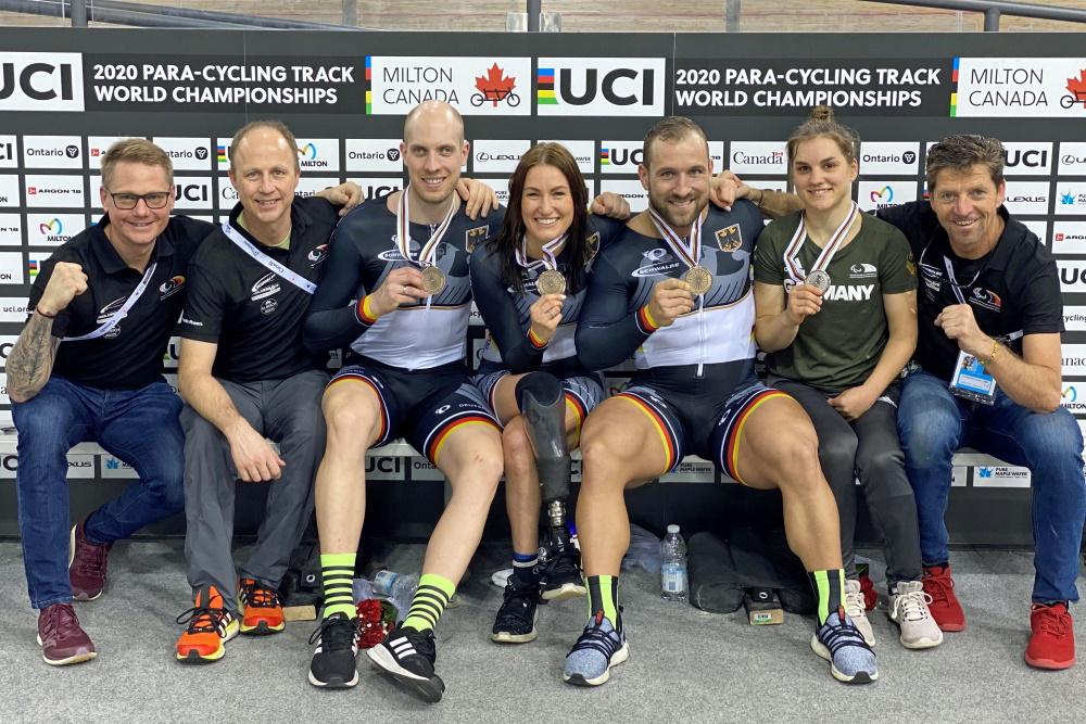 Bahnrad-Weltmeisterschaften in Milton | Glückliche Medaillengewinner Foto: © DBS
