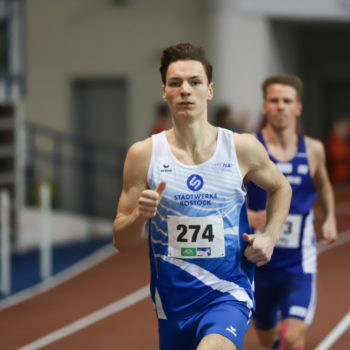 Leichtathleth Timo Liedemit avanciert in Hannover zum neuen Norddeutschen Meister im 800-Meter-Lauf. Foto: Frank Benischke, 1. LAV Rostock